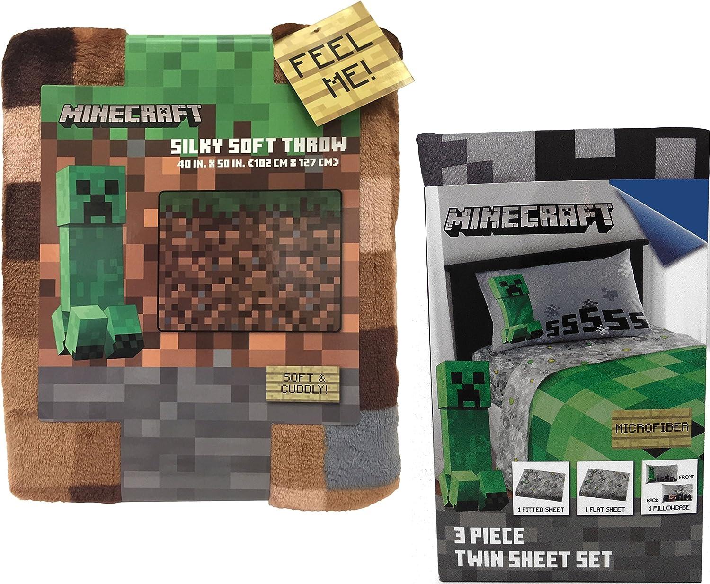 Minecraft Creeper Throw Blanket and Twin Sheet Set Bundle: Amazon