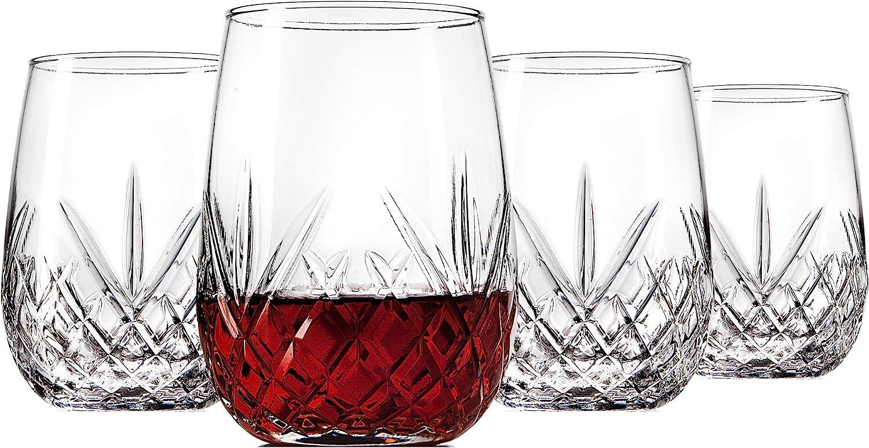Godinger Wine Glasses Stemless Goblet Beverage Cups, Italian Made - Dublin Collection, 16oz, Set of 4