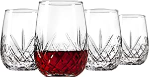 Godinger Wine Glasses Stemless Goblet Beverage Cups, Italian Made - Dublin Collection, 16oz, Set of 4