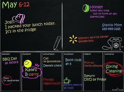 Elegant Weekly Phone Note Purpose Magnetic Refrigerator Calendar Board Dry Erase  Black Chalkboard Smart Job Planner To