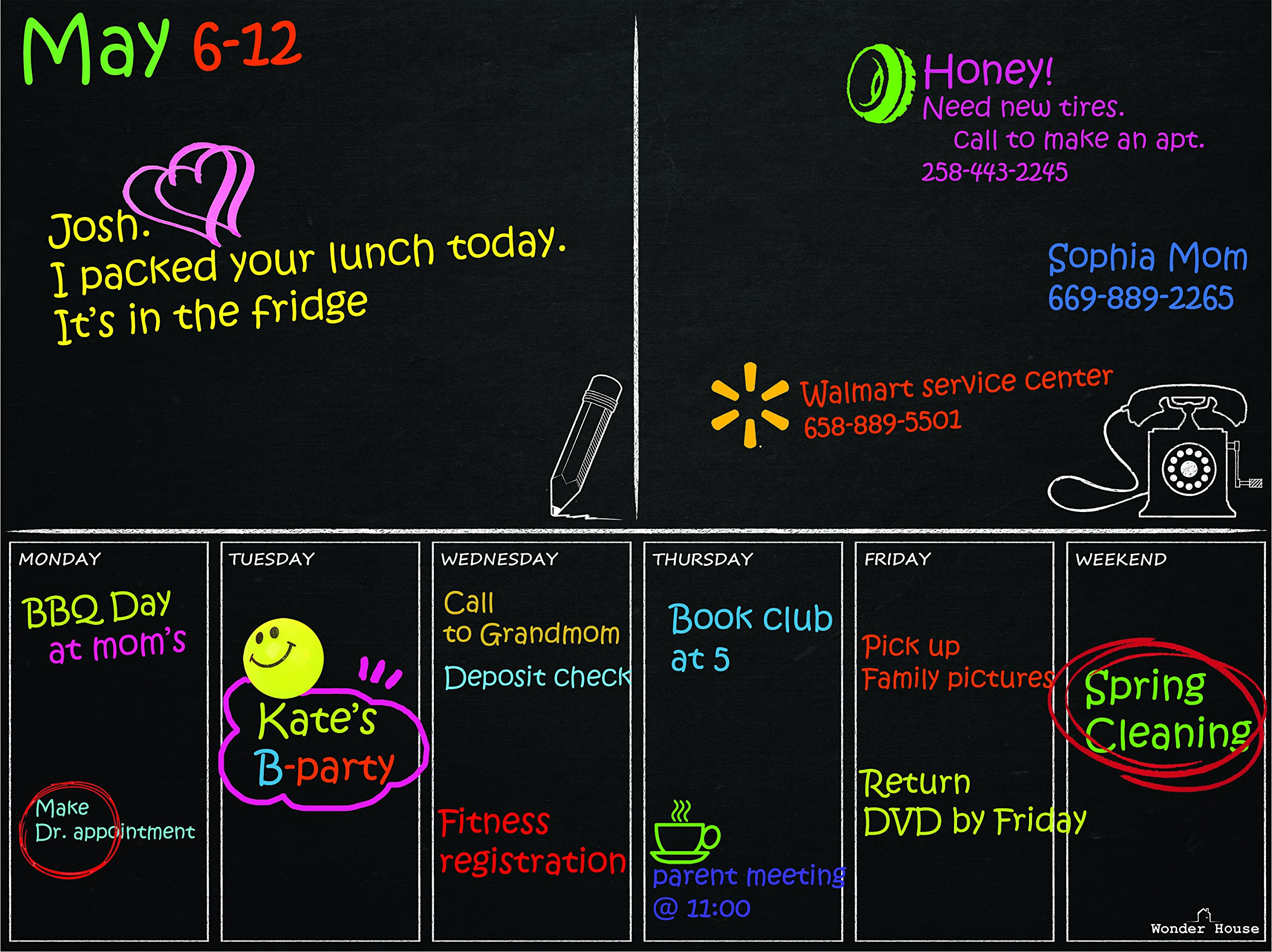 Weekly Phone Note Purpose Magnetic Refrigerator Calendar Board Dry Erase Black Chalkboard Smart Job Planner To Do List Schedule Appointment Board Grocery List 12'' X 16'' - Phone-Note Planner