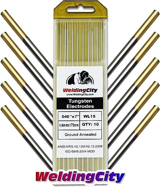 "10 Lanthanated 1.5/% Tungsten Gold Electrodes 1//16 x 7/"""