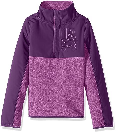 0e88f5c6902 Under Armour Girls' Phenom Fleece 1/2 Snap,Purple Rave /Purple Rave