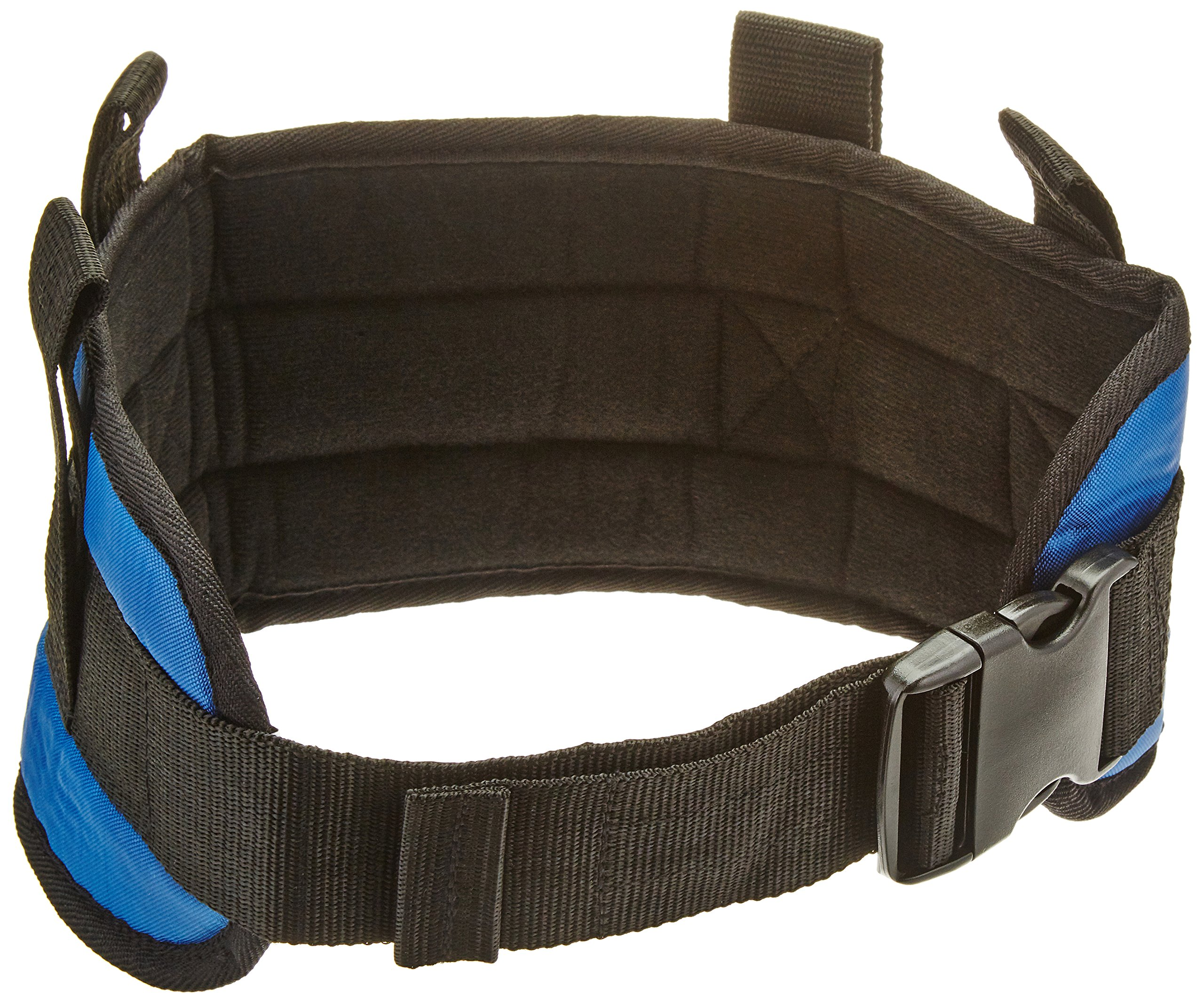 Sammons Preston Padded Gait Belt with Handles, 5.5'' Wide Transfer Belt with 4 Loops & Quick Release Buckle, Handled Limited Mobility Aid Belt for Patient Care, Blue, Small Belt Fits 24''-30'' Waist