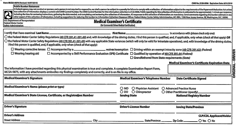 Amazon Jj Keller 47999 19 Mp Medical Exam Report
