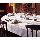 "Fine Irish Linen Chrysanthemum Damask 72"" Round White Tablecloth"