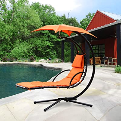 Cloud Mountain Hanging Chaise Lounger Chair Air Porch Floating Swing Hammock Chair with Arc Stand and Canopy Umbrella, Orange : Garden & Outdoor