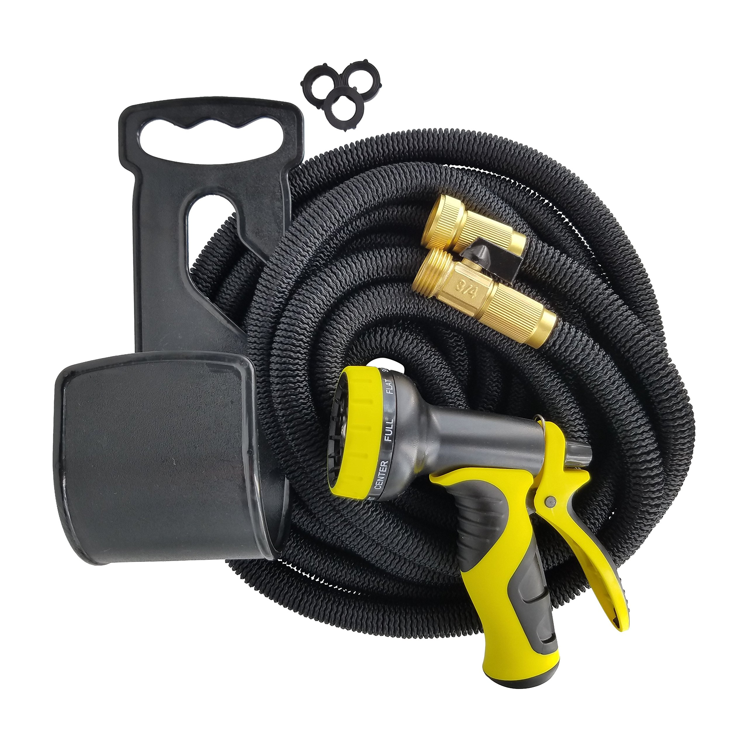 Garden Wand 50 Foot, Valved Brass Fitting, 4X Expandable, Kink Proof Garden Hose with 8 Pattern Spray Nozzle and Accessories (Yellow/ Black)