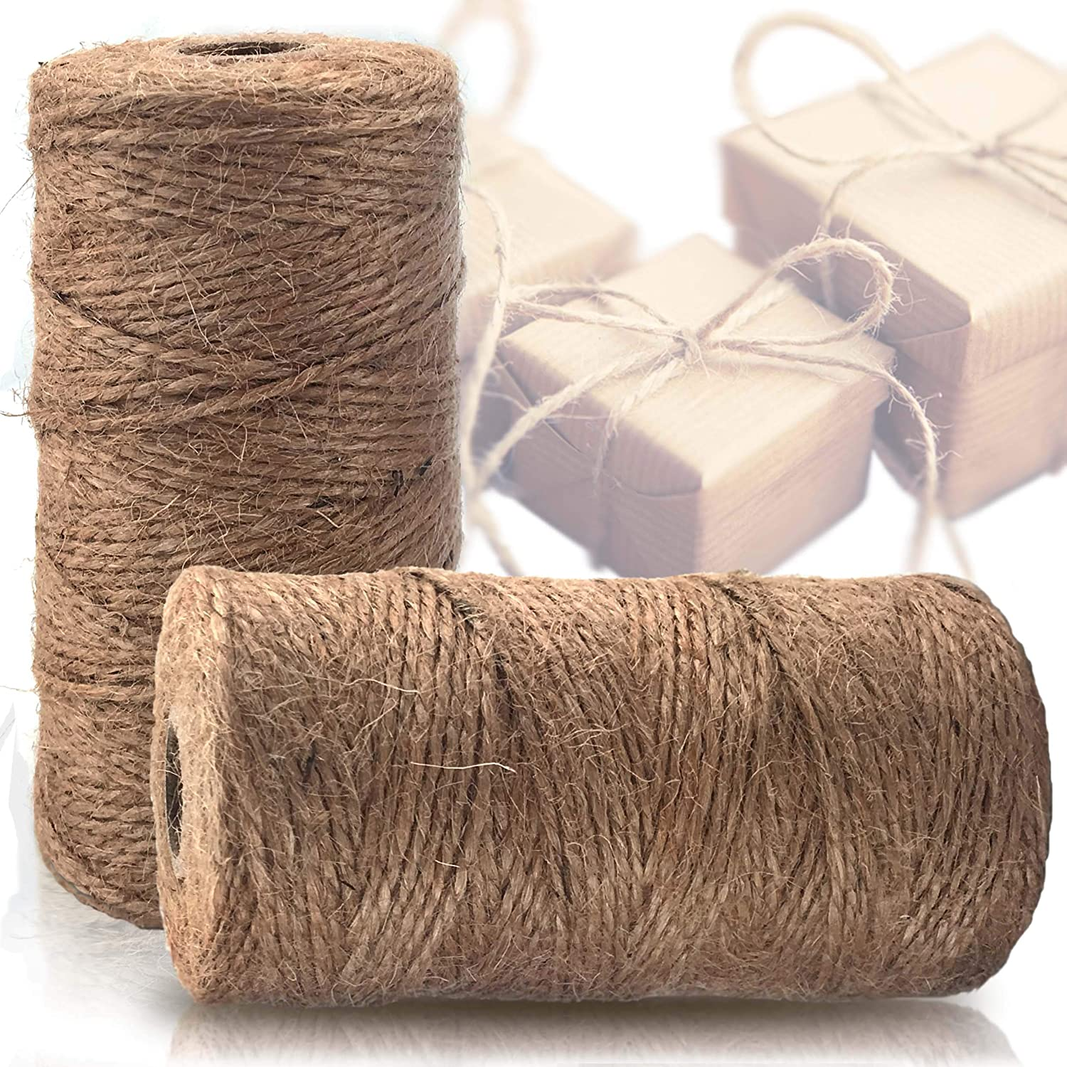 Natural Jute Twine 2 Pack - Best Crafting String for Craft Projects, Wrapping, Packing and More - 656 Feet of Thick Jute Rope to Use Around The House and Garden. Virtuosa Products