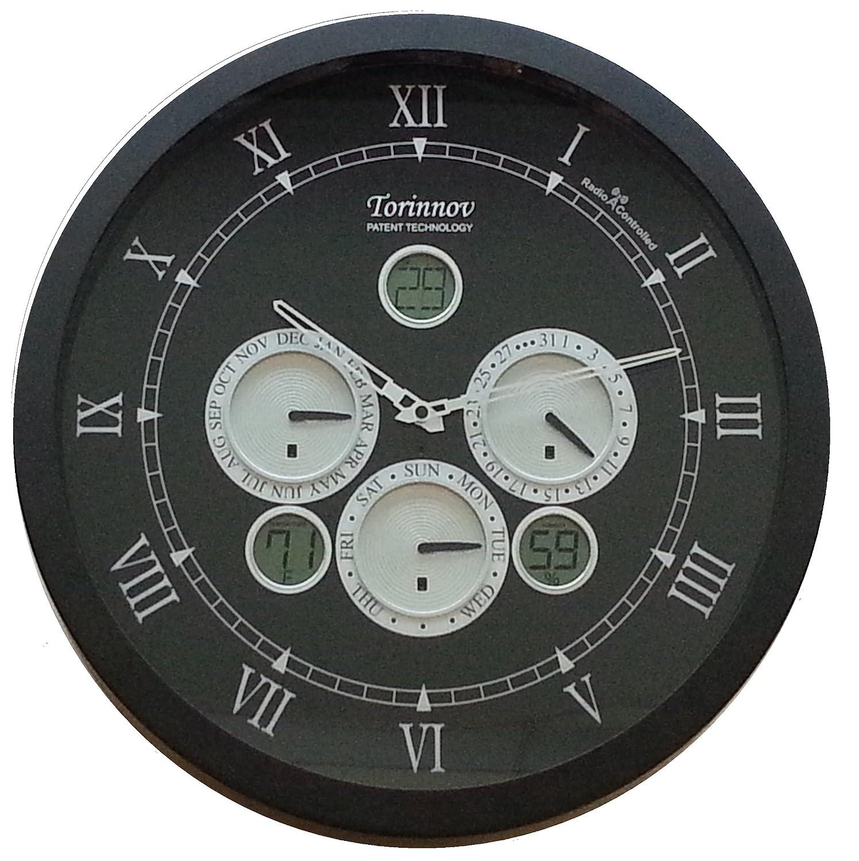 Torinnov Reloj de Pared analógico con radiocontrol y estación meteorológica, 45,7 cm, Metal, Color Negro Mate: Amazon.es: Hogar