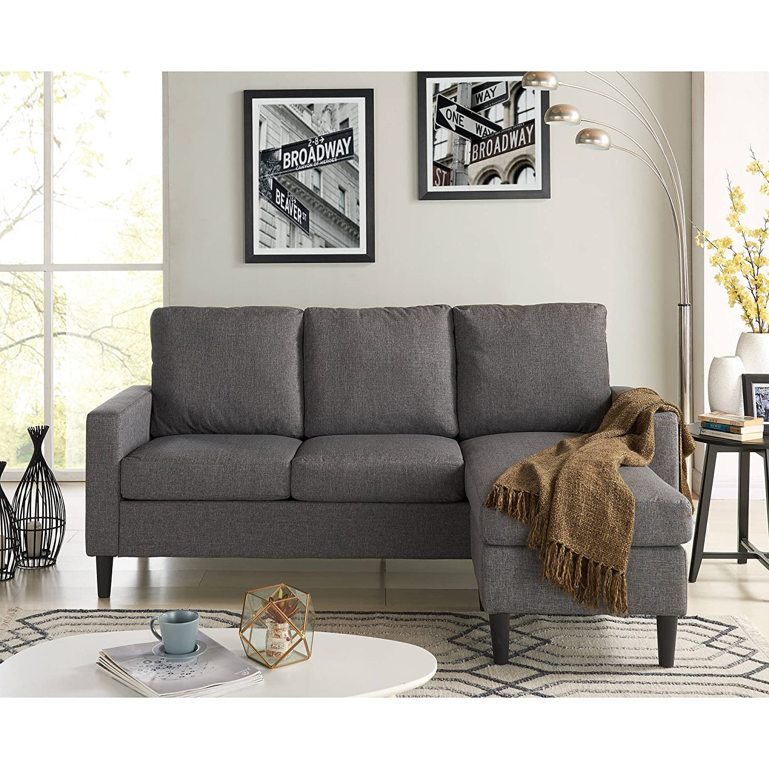 Amazon Mainstays Apartment Reversible Sectional Grey