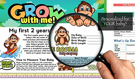 Amazon Boobaa Baby Growth Chart 0 18 Months Baby