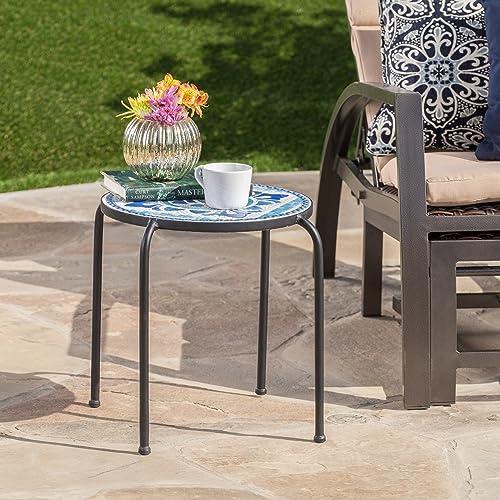 Christopher Knight Home 301161 Sindarin Outdoor Blue White Ceramic Tile Iron Frame Side Table, White Blue