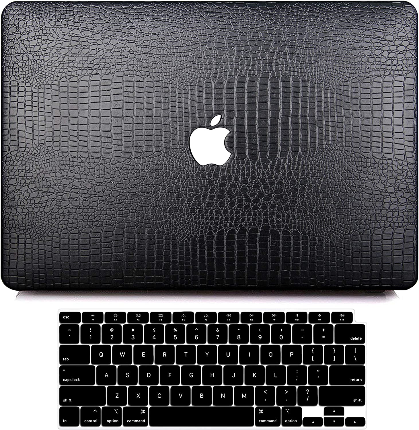MacBook Air 13 Inch Case 2020 2019 2018 Release A2179 A1932, G JGOO MacBook Air 2020 Case, PU Leather Hard Shell Case with Keyboard Cover for Apple Mac Air 13.3 with Retina Display & Touch ID, Black