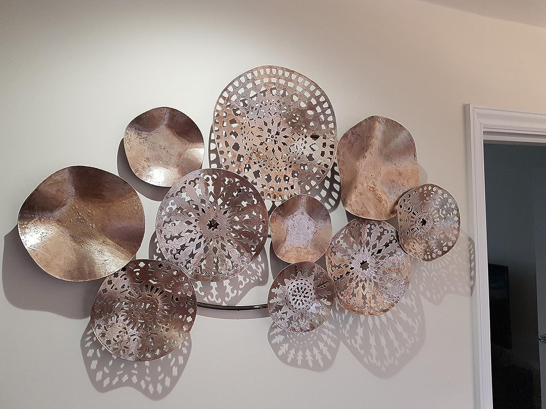 Height 61cm x Width 92cm x Depth 7cm Slate /& Rose Wall Art Metal Bronze