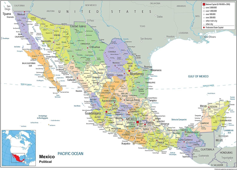 Cartina Del Messico Politica.Mappa Politica Del Messico Carta Laminata Ga Lingua Italiana Non Garantita A2 Size 42 X 59 4 Cm Amazon It Cancelleria E Prodotti Per Ufficio