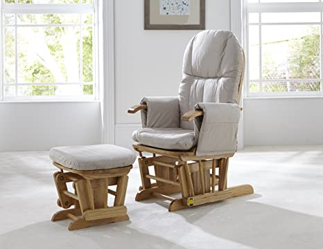 Incredible Tutti Bambini Gc35 Padded Smooth Glider Baby Nursing Chair And Foot Stool With 3 Reclining Positions Natural Wood Frame With Cream Soft Fabric Ncnpc Chair Design For Home Ncnpcorg