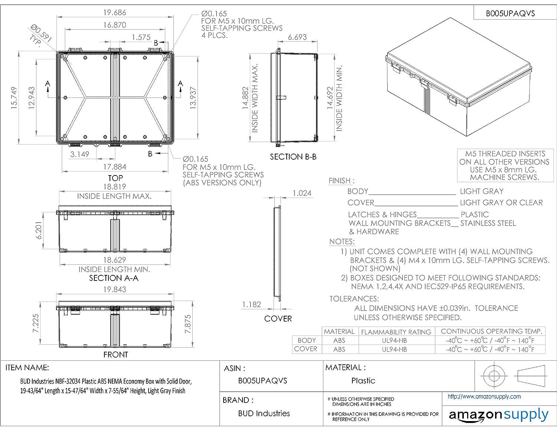 19-43//64 Length x 15-47//64 Width x 7-55//64 Height Light Gray Finish BUD Industries NBF-32034 Plastic ABS NEMA Economy Box with Solid Door