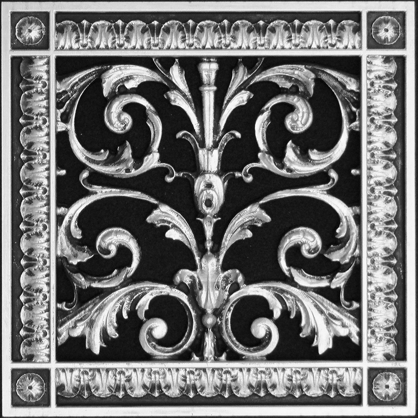 """Decorative Vent Cover, Grille, made of Urethane Resin in Louis XIV, French style fits over a 10""""x 10"""", Total size, 12"""" by 12"""", for wall & ceiling installation only. (not for floors) (Nickel)"""