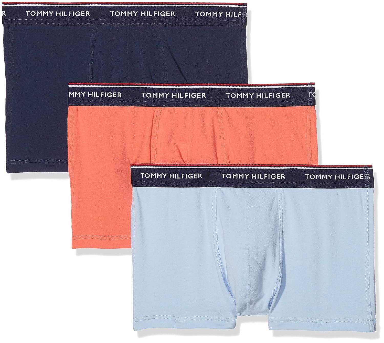 3p Trunk, Bóxer para Hombre, Multicolor (Deep Sea Coral/Chambray Bue/Peacoatpeac 423), Small Tommy Hilfiger