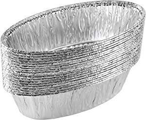 Plasticpro Disposable Oval Loaf pan 2 LB Aluminum Takeout Tin Foil Baking Pans Bakeware - Cookware Perfect for Baking Cakes,Brownies,Bread, Meatloaf, Pack of 20