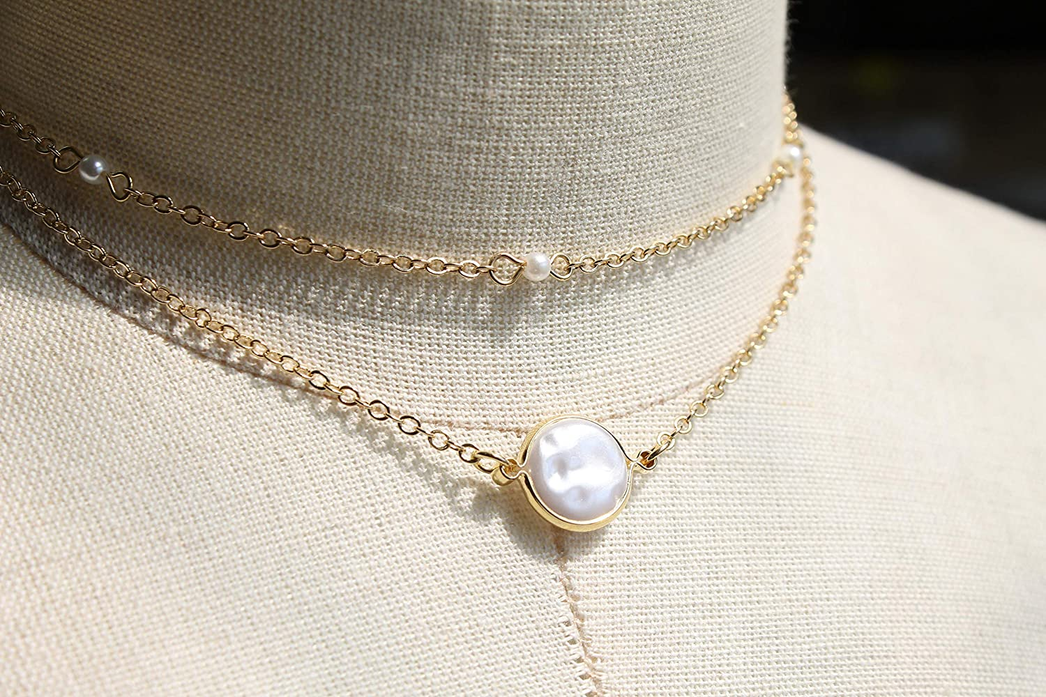 POMINA Multi Layer Pearl Chain and Fresh Water Pearl Short ...