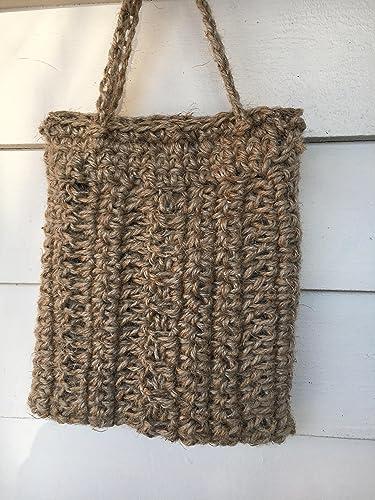 Amazoncom Small Jute Crochet Tote Bagbatooli Bags Handmade