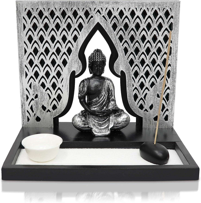 "Basic Fundamentals Zen Garden Candle Holder Home Decor - Buddha Incense Stick Holder Office Desk Accessories - Zen Garden Sand Office Decor - Buddha Statue Table Top - 12"" x 12"""