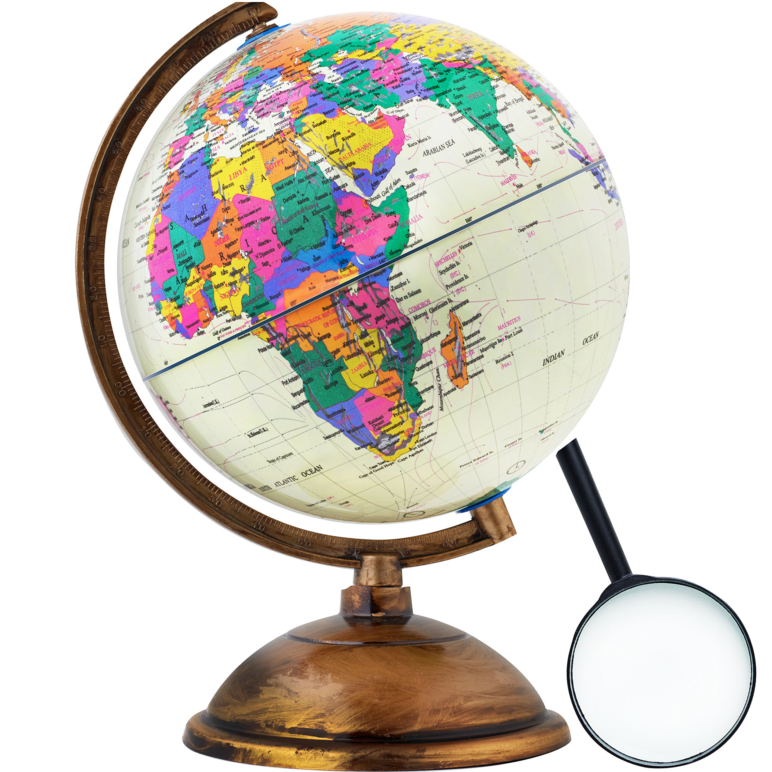 World Globe - Antique Decorative in Style - 12 inch in Total Size with a Magnifying Glass - Kids Educational Learning Toy Engaging Children - Old World Style with a Desktop Stand - Detailed World Map