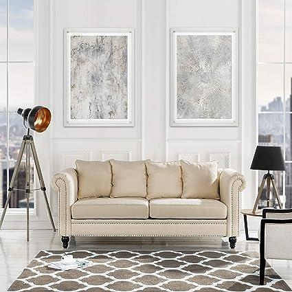 Amazon Com Classic Chesterfield Scroll Arm Linen Living Room Sofa