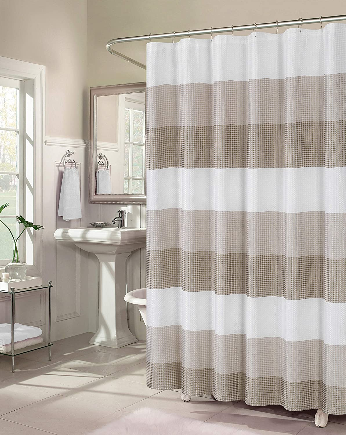 Dainty Home Waffle Weave Ombre Stripe Fabric Shower Curtain, 70 inch Wide x 72 inches Long, Natural Taupe