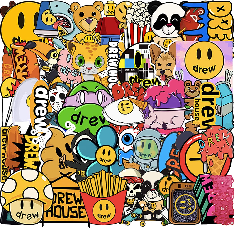 Veiai Sticker Pack for Kids, Drew House Decals Sticker for Door Laptop Luggage Car Bike Guitar Waterbottle (Sticker-D)