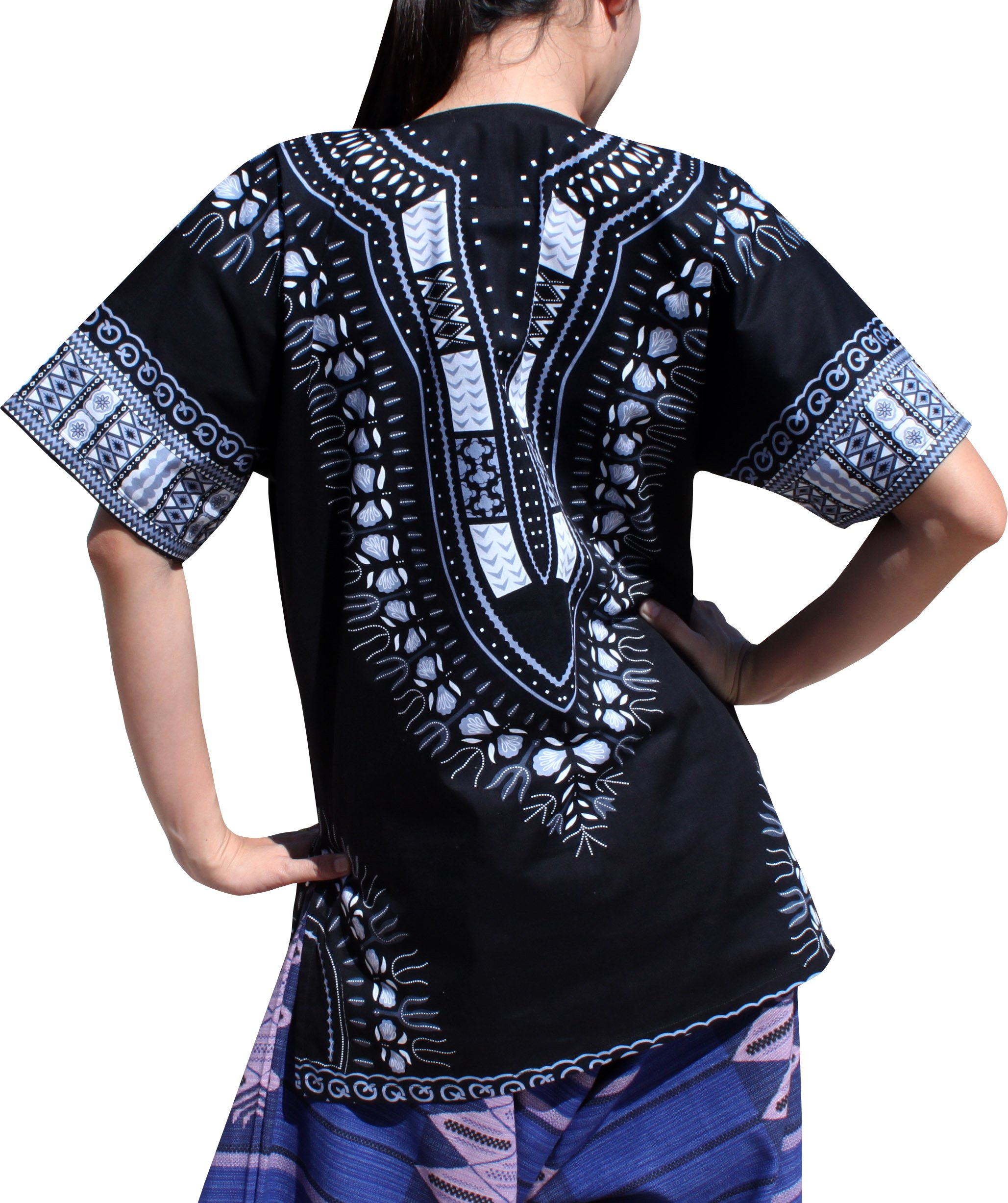 RaanPahMuang Traditional African Dashiki Shirt In Light Thin Grade Batik Cotton, Large, Black/Gray by RaanPahMuang (Image #2)