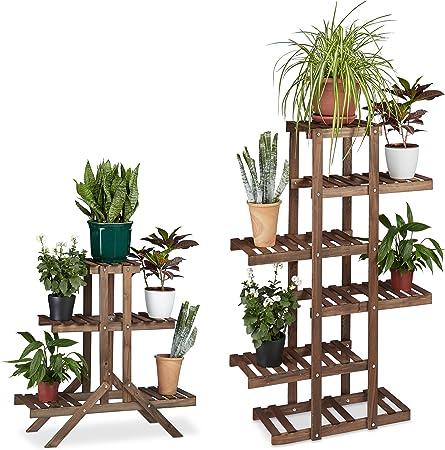 Blumentreppe Holz Blumenbank Garten Blumenständer mehrstöckig Pflanzentreppe