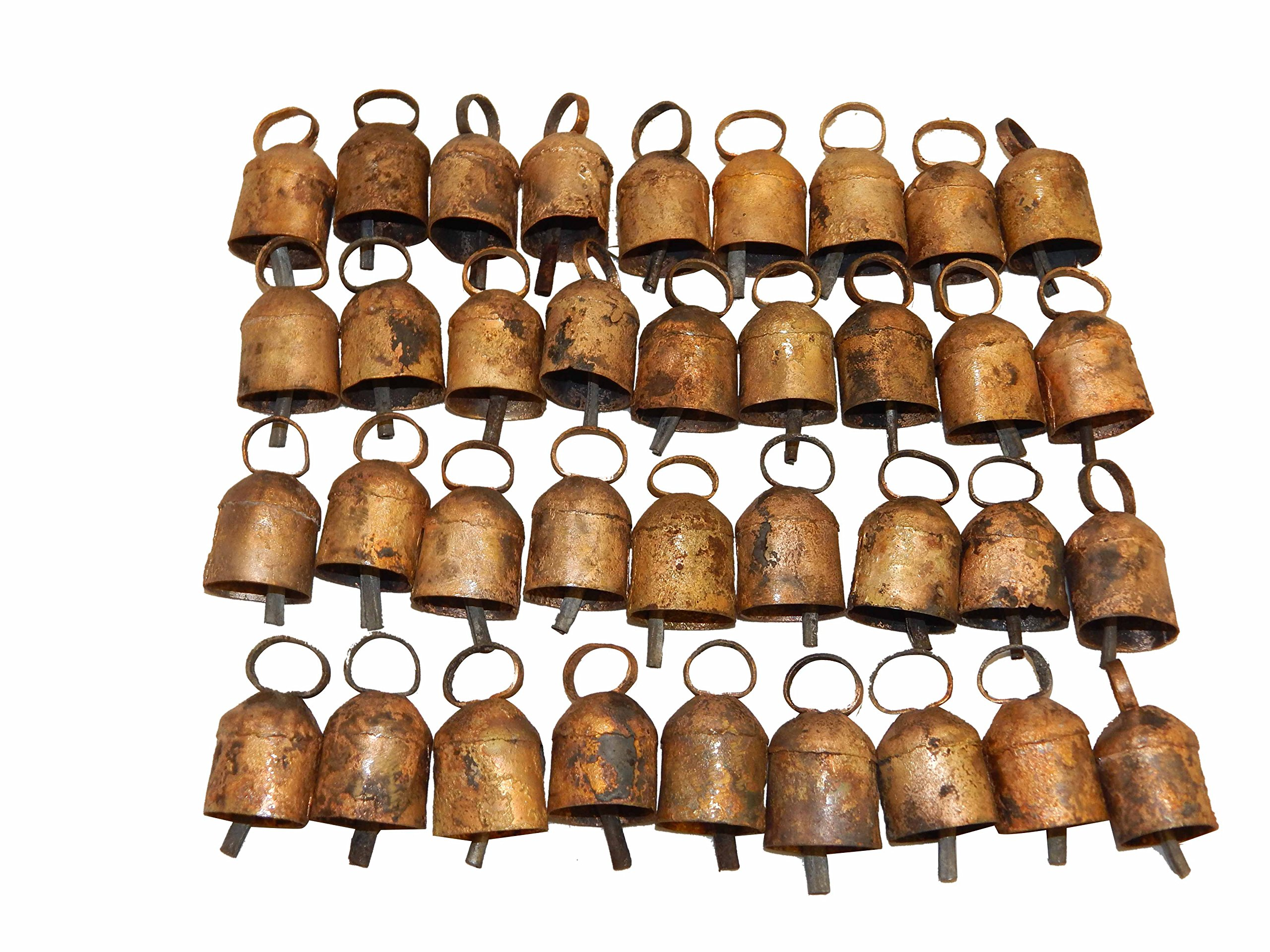 Thirty Six Tin Bells with Metal Striker and Rounded Top