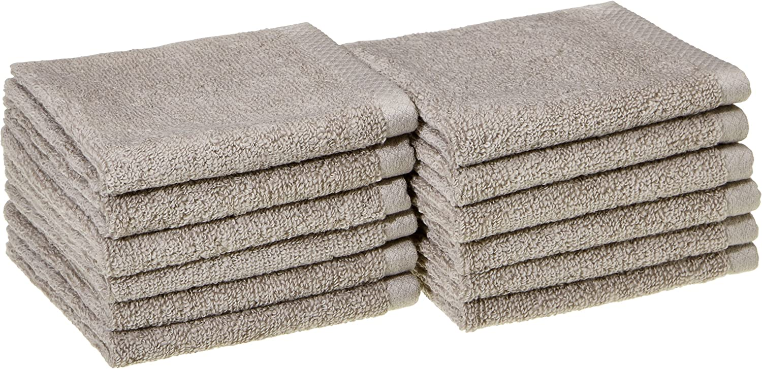 AmazonBasics Quick-Dry, Luxurious, Soft, 100% Cotton Towels, Platinum - Set of 12 Washcloths