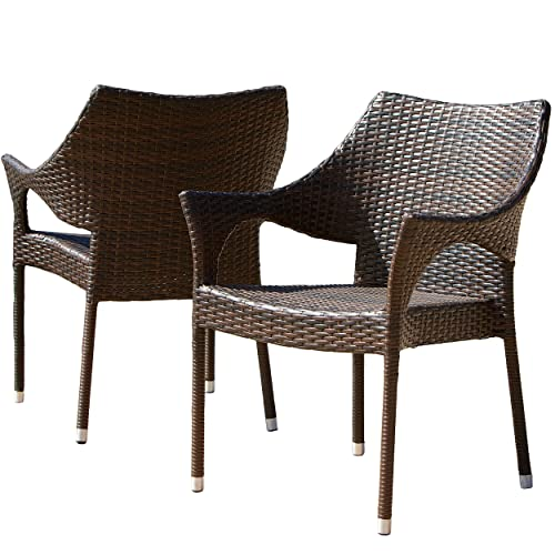 Del Mar Outdoor Wicker Stacking Chairs Set of 2 Perfect for Patio MultiBrown