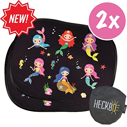 HECKBO® - 2 in 1 Selbsthaftende Auto-Sonnenblende + 4 gratis Saugnäpfe - Autosonnenschutz für Mädchen, Kinder & Baby [2 Stück