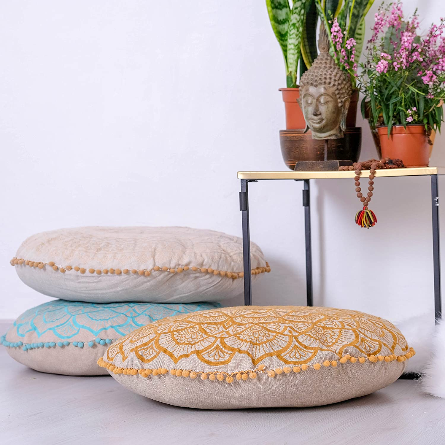 Décor Pouf for Meditation, Yoga, and Boho Chic Seating Area Floor Pillow – – Handmade in India