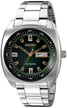 9eb341b70 Amazon.com: Seiko Men's SNKM97 Analog Green Dial Automatic Silver ...