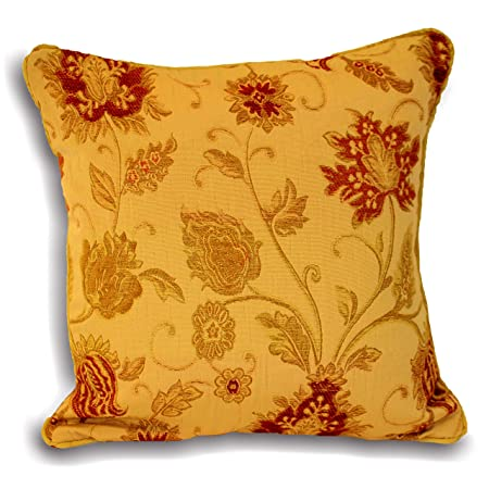 Riva paoletti zurich cushion cover gold yellow decorative floral jacquard design piped edges