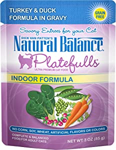 Natural Balance Platefulls Wet Cat Food in Gravy for Indoor Cats, 3 Ounce (Pack of 24), Grain Free