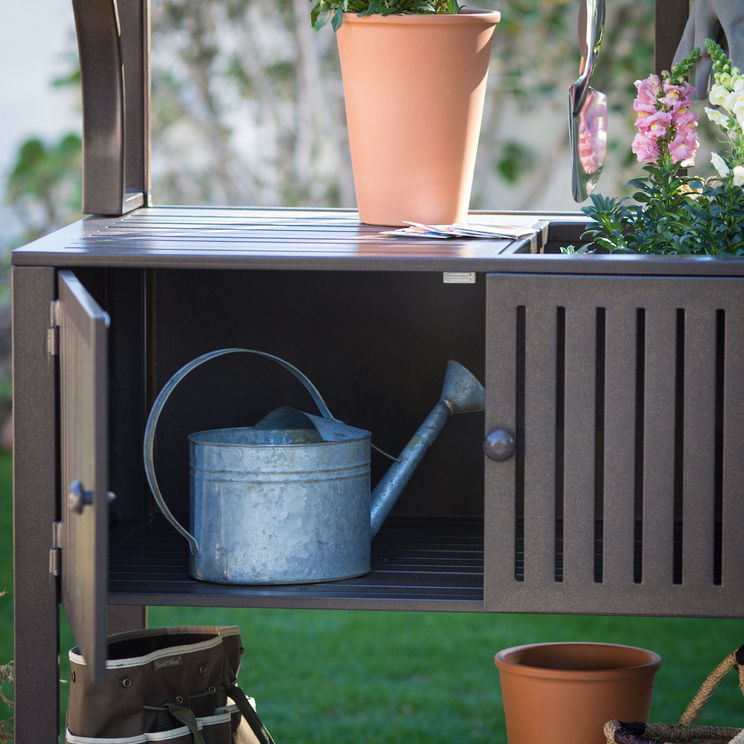 Contemporary Style, Modern Metal Chestnut Brown Finish Outdoor Potting Bench 42''W x 23''D x 72''H With Storage and 2 Slatted Shelves, 7 Hooks for Hanging Gardening Tools by Belham Living (Image #3)