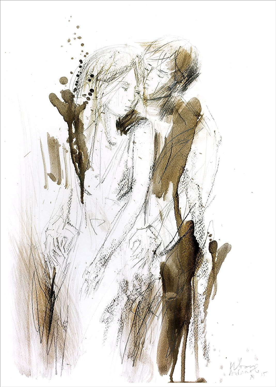 Amazon com couple drawing giclee art print man and woman charcoal sketch modern wall decor handmade