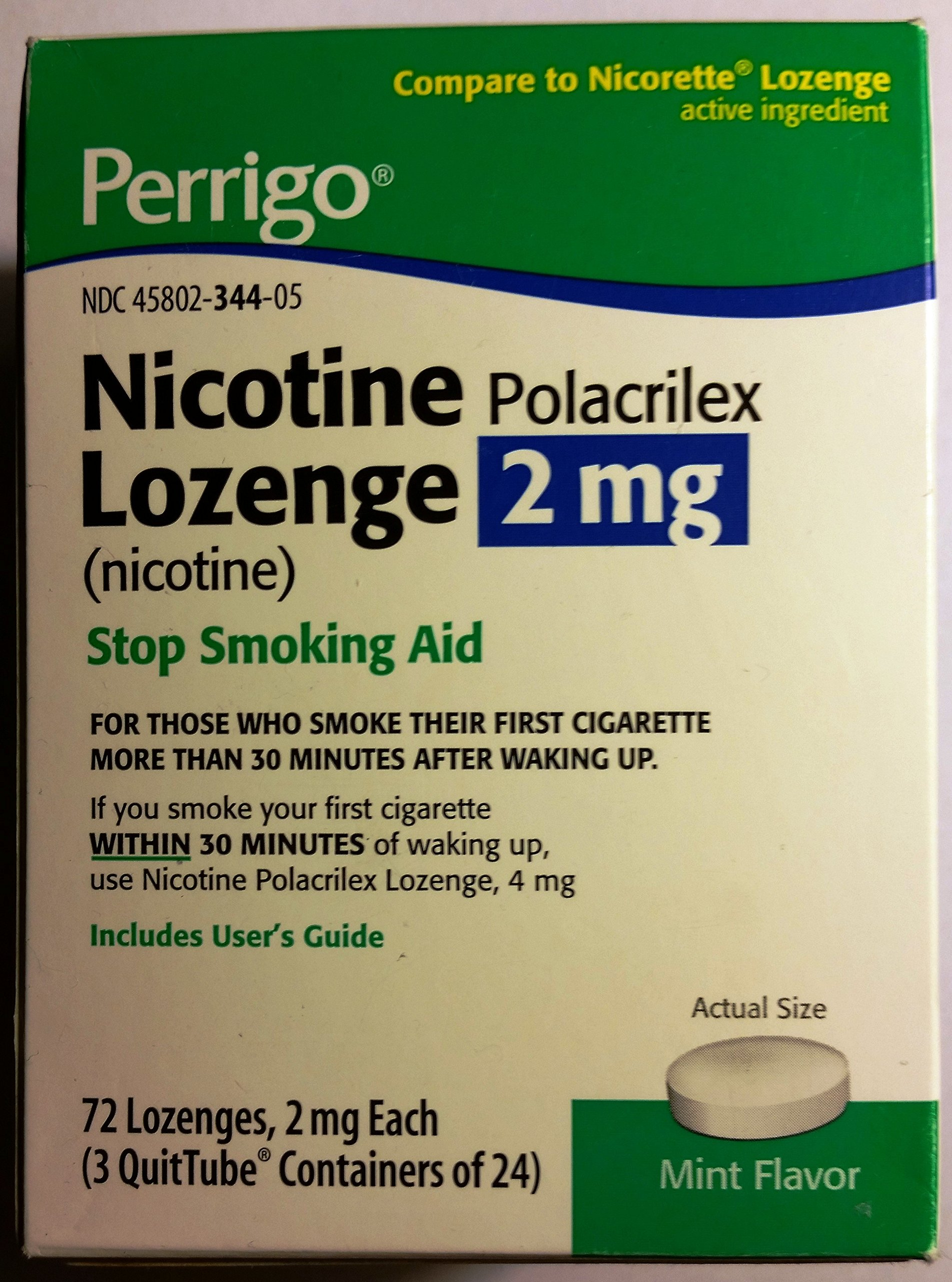 Perrigo Nicotine Polacrilex Lozenge 2mg ~ MINT flavored ~ 72ct *Compare to Nicorette*