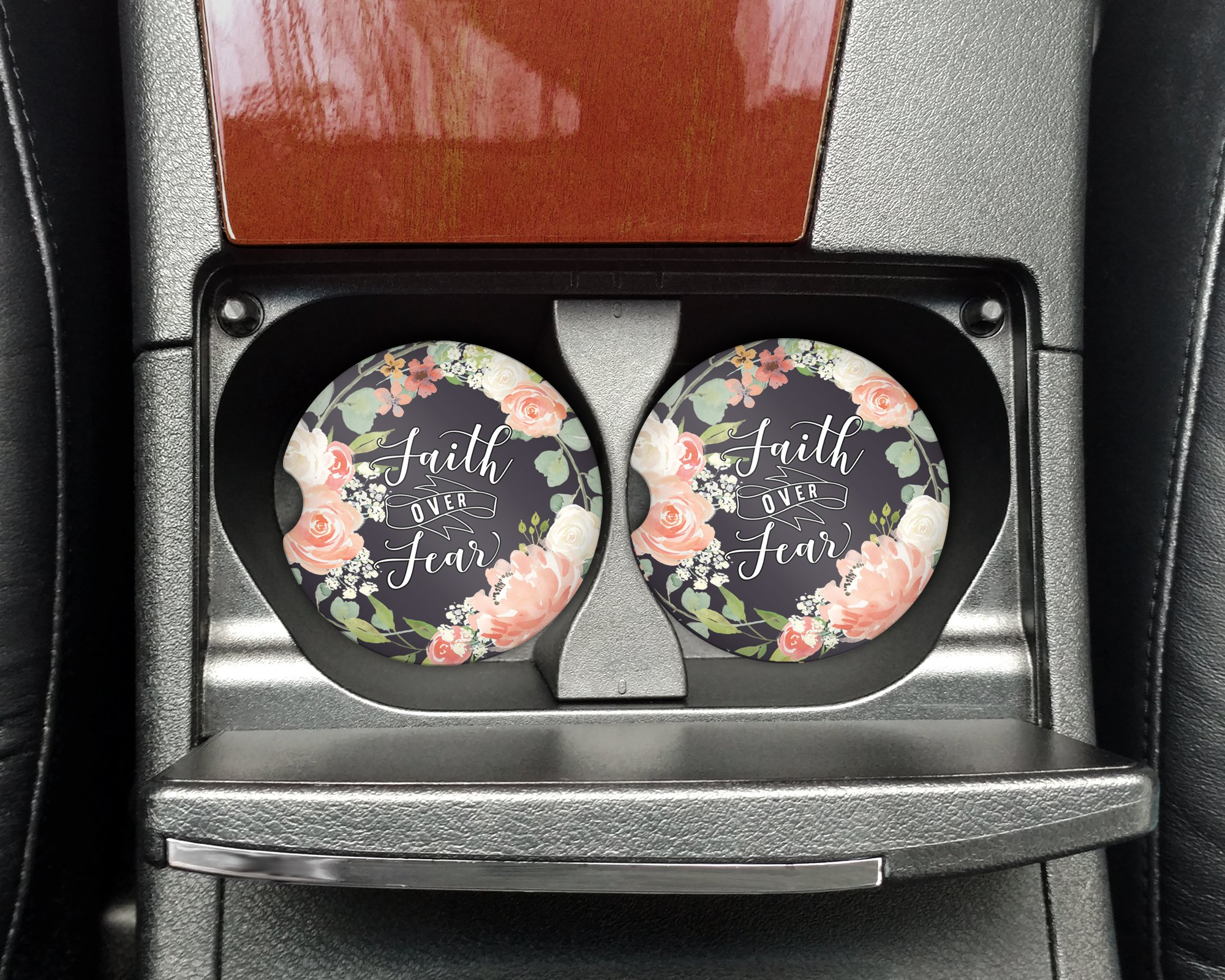 Christian quote - Faith over Fear - Car coasters - Sandstone auto cup holder coasters bible verse - Gifts for women