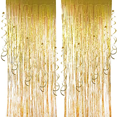 10 Paquetes Colgante Remolinos y 2 Paquetes Cortina de Lamina Cortinas de Franja de Lamina Metálica Cortinas de Ventana Puerta para Decoración de Fiesta: Juguetes y juegos
