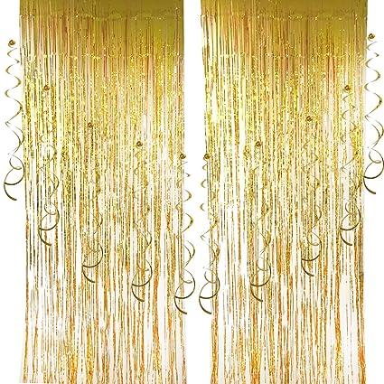 2 Pcs Foil Curtains And 10 Hanging Swirls Cocodeko Metallic Fringe Shimmer Curtain
