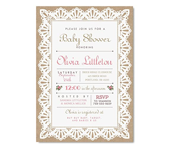 burlap and lace baby shower invitation rustic baby shower invitation lace baby shower invitations