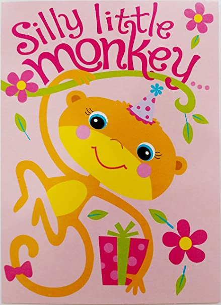 Amazon Silly Little Monkey Happy Birthday Greeting Card For